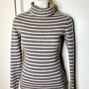 Old Navy Grey Pink Stripe Turtleneck Sweater S